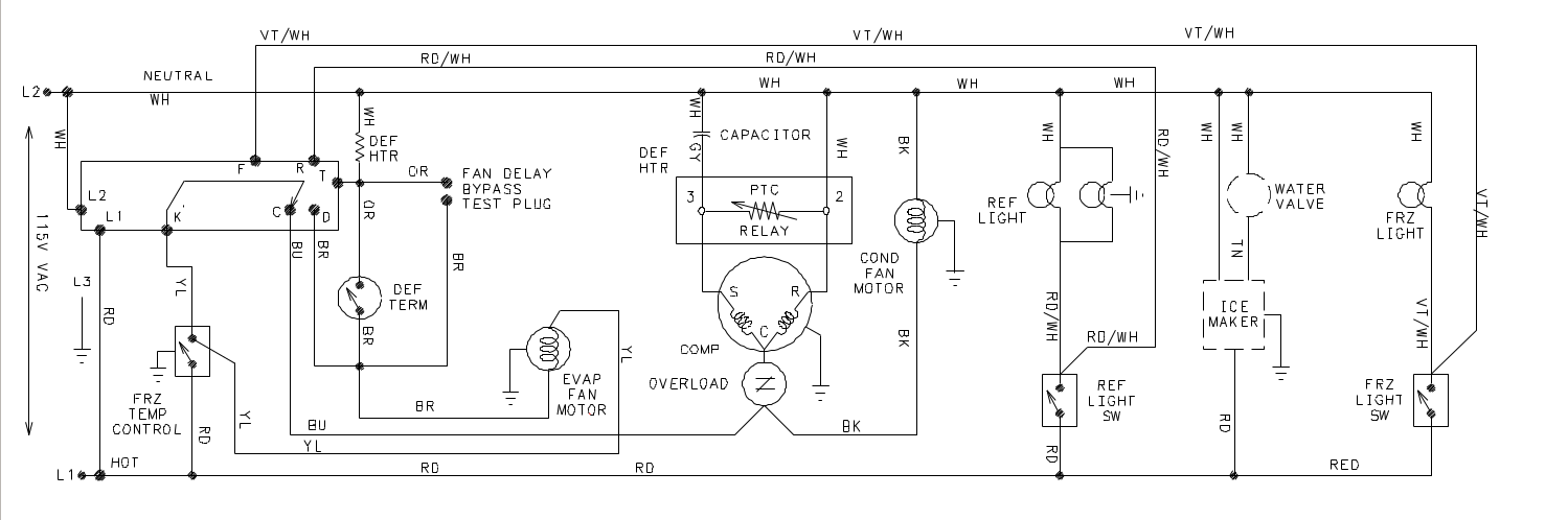Wiring_diagram_Amana_Fridge refrigerators applianceboards Freezer Defrost Wiring Schematic at panicattacktreatment.co